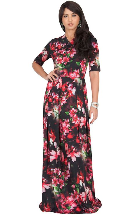 d5e27ef5f25b KOH KOH Womens Long Flowy Summer Short Sleeve Floral Print Casual Maxi Dress      Read more at the image link. (This is an affiliate link and I receive a  ...