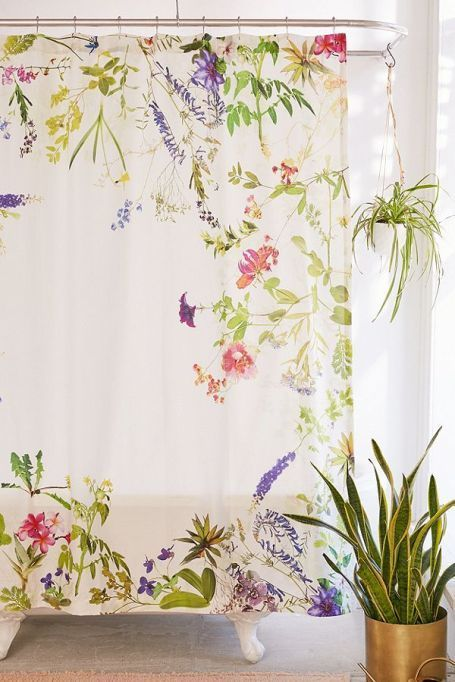 Best Shower Curtains This Flower Print Shower Curtain Will Make Your Bathroom Feel Like A Cool Shower Curtains Flower Shower Curtain Urban Outfitters Curtains
