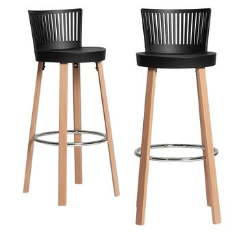 Chaise De Bar Noire Et Bois Ariane 2 Lot De 2 Tabouret De Bar Design Chaise Bar Bar Noir