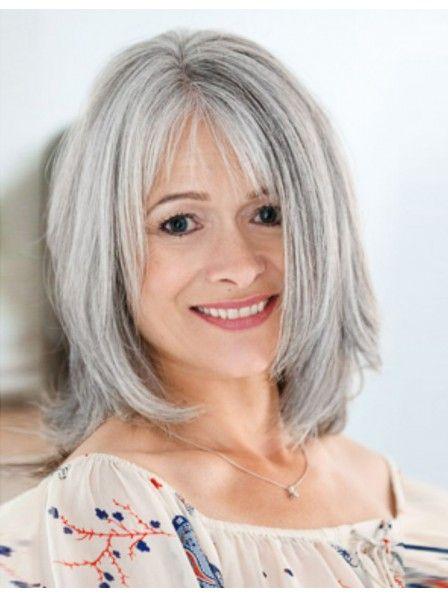 Cute Medium Length Straight Bob Style Grey Wig With Bangs Grey Hair Wig Medium Layered Hair Medium Hair Styles
