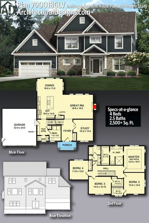 Plan 790018glv Inviting 4 Bedroom House Plan With Private Study Architectural Design House Plans 4 Bedroom House Plans Sims 4 House Plans