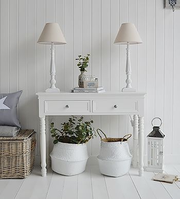 White Living Room Furniture White Console Table New England