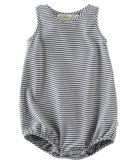 a6d9dadea37 Baby Boy Cotton Bubble Romper - Navy Stripe