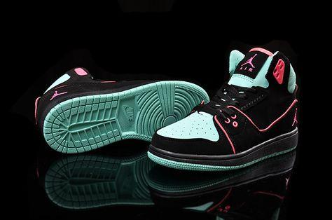 7422527c4f67 Women Nike Air Jordan 1 Flight 2 Shoes Black Pink Turquoise ...