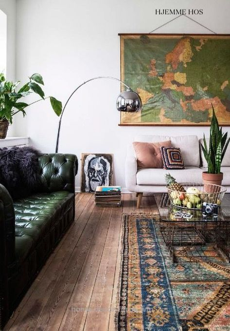 Gorgeous Living Room With Green Leather Couch Oversized Art And Traditional Ru Home Decor For Us Bohemian Style Living Room Living Room Designs Boho Living Room