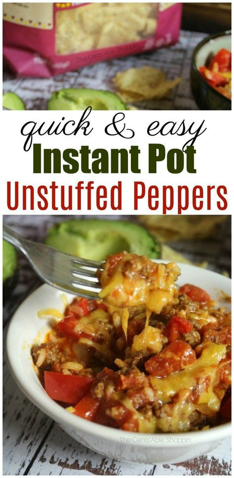 Instant Pot Unstuffed Peppers A traditional twist on stuf. - Instant Pot Unstuffed Peppers A traditional twist on stuffed bell peppers, I - Best Instant Pot Recipe, Instant Pot Dinner Recipes, Instant Pot Meals, Instant Recipes, Unstuffed Peppers, Unstuffed Pepper Casserole, Green Pepper Casserole, Beef Recipes, Healthy Recipes