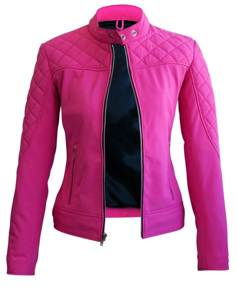 Women Pink Softshell Quilted Jacket with Black Lining - Leather Skin Shop