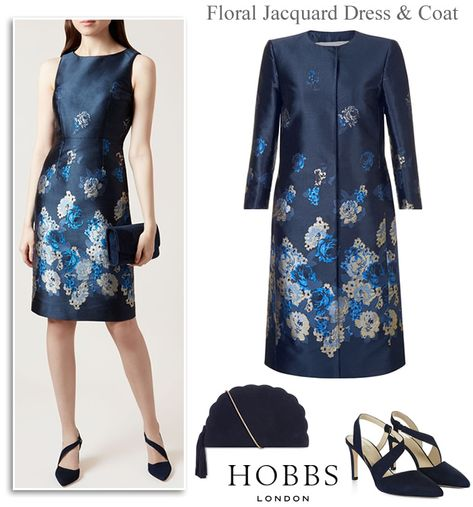 f68be7616bff Hobbs MOTB Wedding Occasion Coats Matching Dresses in Navy Floral Jacquard