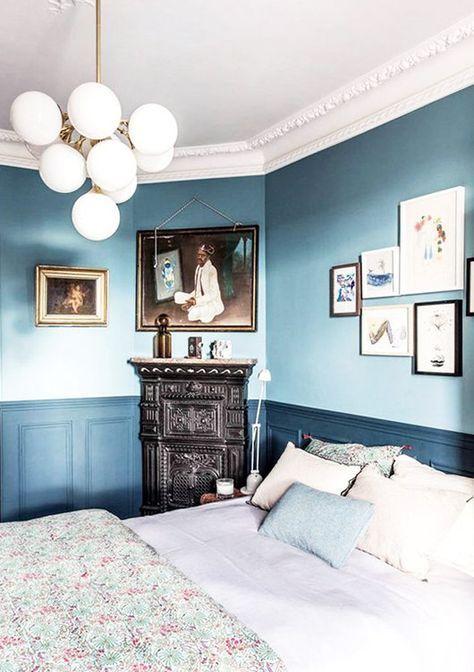 Bedroom Paint Ideas Two Tone Blue 34 Ideas Blue Bedroom Walls Home Decor Bedroom Blue Rooms