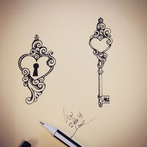 Beautiful design for couples in love. Locked heart and a key for it.