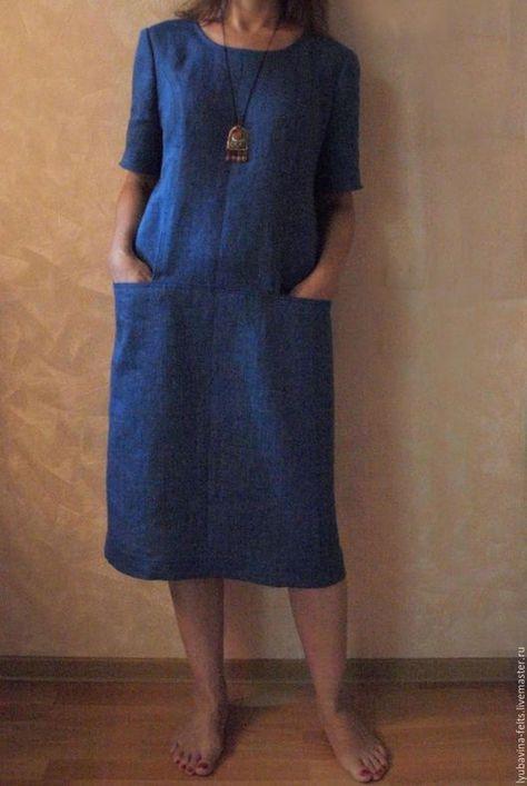 Платья ручной работы. Ярмарка Мастеров - ручная работа. Купить Платье из льна Арт.02р, синий меланж с рукавом и карманами. Handmade.