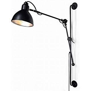 Industrial Wall Mount Black Swing Arm Wall Lights With Switch Adjustable Plug In Wall Sconce Swing Arm Sconce Swing Arm Wall Light Plug In Sconce Swing arm wall mount lamps