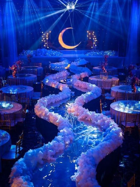Destination Wedding Venues by PJ. A magical night wedding and reception. Night lights with blue, white elevated runway. A once-in-a-lifetime wedding or special event.