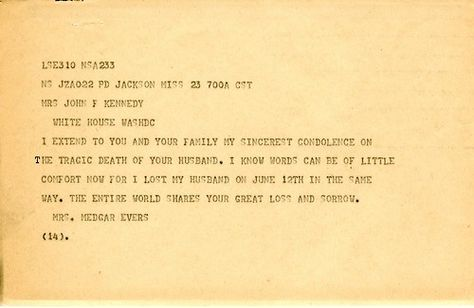 ourpresidents Condolence letter to Jacqueline Kennedy from Myrlie - condolence letter