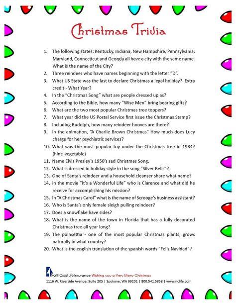 Free Printable Christmas Trivia Questions