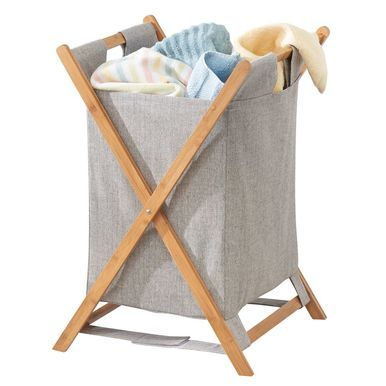 Large Collapsible Bamboo Fabric Laundry Hamper Basket Bag