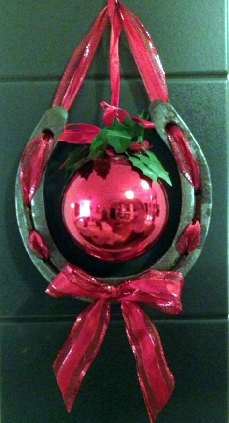 Horsenista Christmas: DIY Horseshoe Ornaments (Simple but neat idea)JROChristmas ~ Horseshoe Christmas Wreath Things You Can Make With Horseshoes Diy Projects For Everyone Crafts 82 Astonishing Horseshoe Christmas Wreath.DIY Horseshoe Ornaments This is re Cowboy Christmas, Country Christmas, Christmas Holidays, Christmas Wreaths, Christmas Ornaments, Diy Ornaments, Horseshoe Christmas Tree, Christmas Horses, Christmas Door
