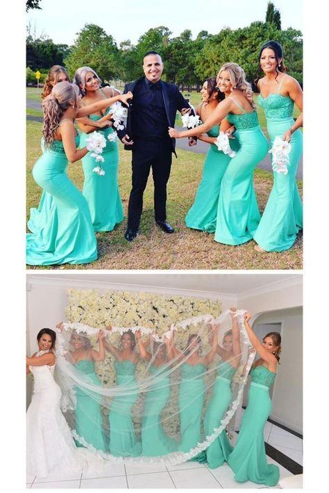 Prom Dress For Teens, 2019 Mermaid Bridesmaid Dresses Spaghetti Straps Satin & Lace Sweep Train Enchantment Bridal