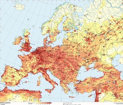 Bevolkerungsdichte Europa Schweizer Weltatlas Karte