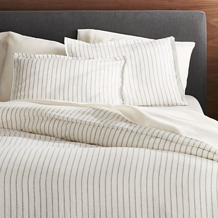 Pure Linen Wide Stripe Warm White Duvet Covers And Pillow Shams Crate And Barrel White Duvet Covers Duvet Cover Master Bedroom Gray Duvet Cover