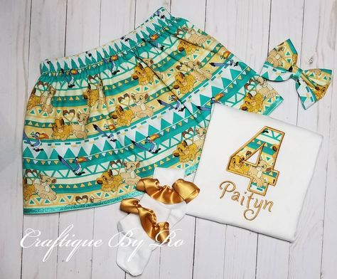 Birthday Girl Outfit - Lion Birthday Outfits | Embroidery Shirt - Skirt Set