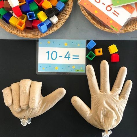 Subtraction Hands ✋🏼🤚🏼 Every year this activity is a winner with . - Subtraction Hands ✋🏼🤚🏼 Every year this activity is a win for my cherubs and every year I - Toddler Learning Activities, Preschool Activities, Subtraction Activities, Activities For 5 Year Olds, Preschool Learning, Teaching Math, Childhood Education, Kids Education, 1st Grade Math