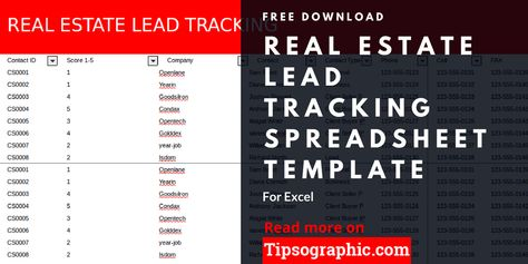 Real Estate Lead Tracking Spreadsheet Template For Excel Free