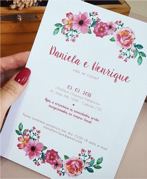 Convite De Casamento Ou Identidade Visual Floral Moderno Artes