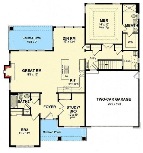 Plan 19604jf Shingle Style House Plan With Open Layout House Plans Floor Plans Cottage House Plans