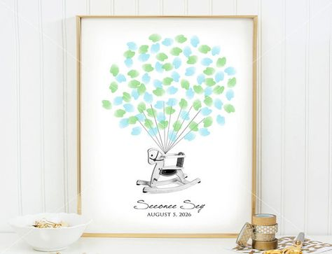 Baby Fingerprint Guestbook  Rocking Horse  Baby shower  by SEEONEE