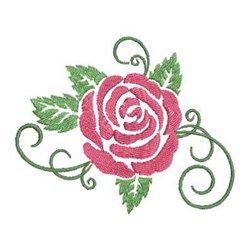 Swirly Stem Applique Flower Embroidery Design