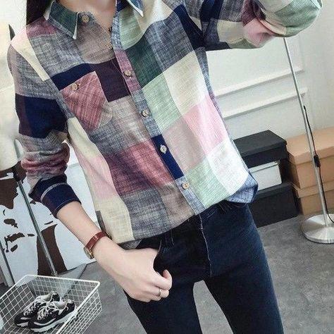 New Style Women Casual Cotton Long Sleeve Plaid Shirt Slim Outerwear B – noashe
