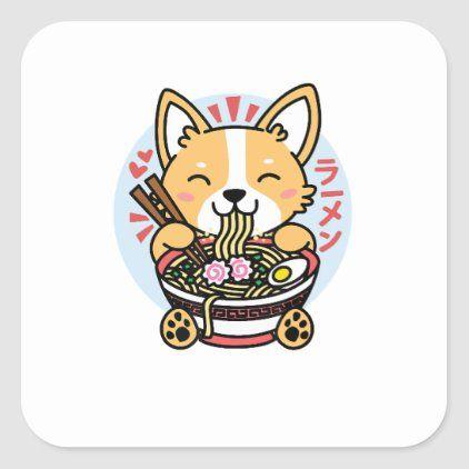 Kawaii Ramen Shirt Cute Anime Dog Corgi Japanese N Square Sticker Cute Cartoon Drawings Cute Dog Drawing Cute Dog Wallpaper