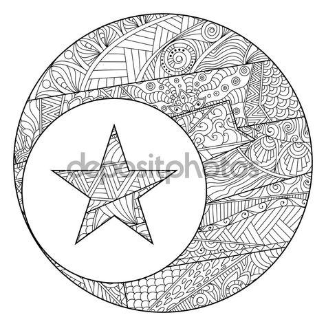 Boyama Kitabi Sayfasi Ay Ve Yildiz Zentangle Tarzi Guzel Desenli Illustrasyon Stok Illustrasyon 108854010 Boyama Kitaplari Gorsel Sanatlar