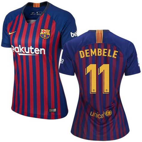 Ousmane+Dembele+ 11+Women s+FC+Barcelona+2018 2019+Soccer++Home+Jersey +Blue+-+Red++La+Liga+Club  legends  likeforlike  football  soccer  goal   gol ... c656e517c