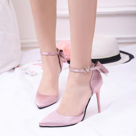 a1dbb3ddf82e Pointed Toe Back Bow Tie Ankle Strap Shoes in 2019