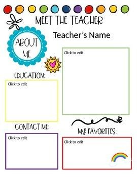 Meet The Teacher Student All About Me Meet The Teacher Meet The Teacher Template Letter To Teacher