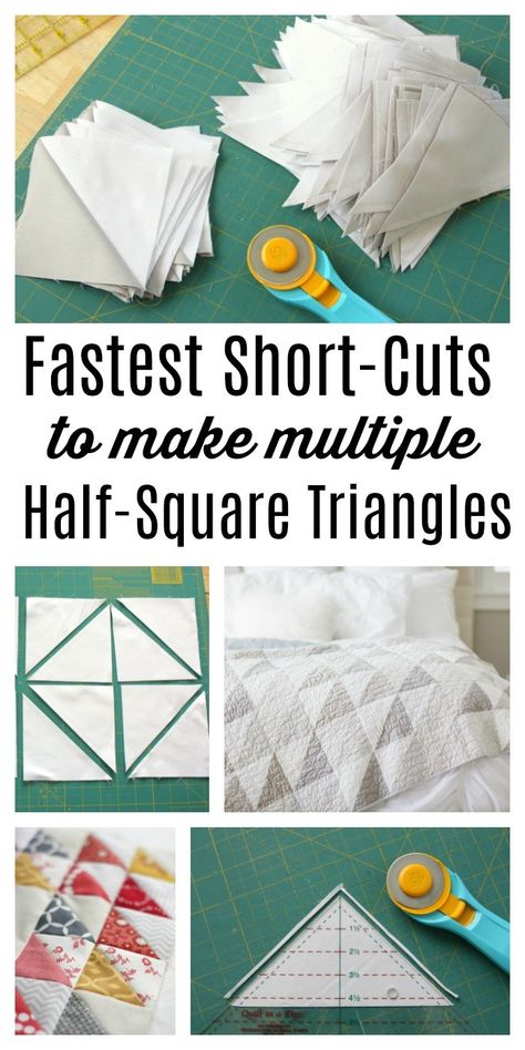 for making and squaring-up multiple Half Square Triangle Quilt Blocks at once. Video tips and time-saving tutorial.Short-cuts for making and squaring-up multiple Half Square Triangle Quilt Blocks at once. Video tips and time-saving tutorial. Quilting For Beginners, Quilting Tips, Quilting Tutorials, Machine Quilting, Quilting Projects, Quilting Designs, Sewing Projects, Craft Projects, Triangle Quilt Tutorials