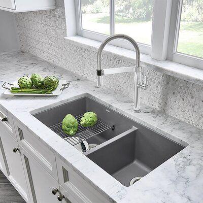 Blanco Precis Silgranit 33 L X 18 W Double Basin Kitchen Sink Kitchen Remodel Kitchen Remodel Small Contemporary Kitchen