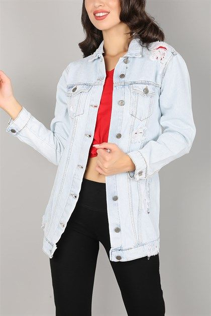 Acik Mavi Yirtik Boy Friend Bayan Kot Ceket 563k 89 95 Tl Trend Giysen 2020 Kot Ceket Moda Trendler