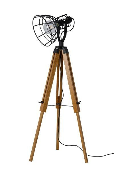 Staande Lamp 3 Poot Hout Kooi Wit Of Zwart E27 Vloerlamp Lamp 3 Poot Tripod Lamp