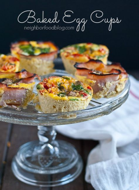 Baked Egg Cups with veggies, ham, and cheese from Neighborfoodblog.com