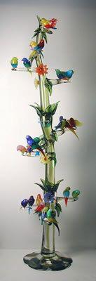 zanetti murano glass birds | Zanetti Murano 21 birds on a branch Sculpture