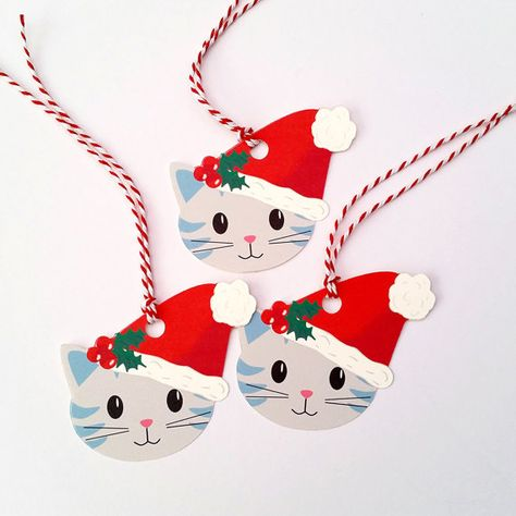 Christmas Gift Tags, Set of 6 Cat Tags, Cat Gift Tags, Wrapping, Packaging, Unique Gift Tags, One of a Kind, Santa Hat