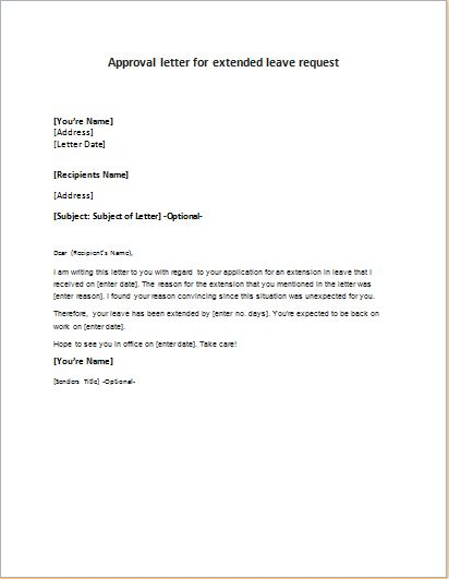 Approval Letter For Extended Leave Request Lettering English Learning Spoken Request