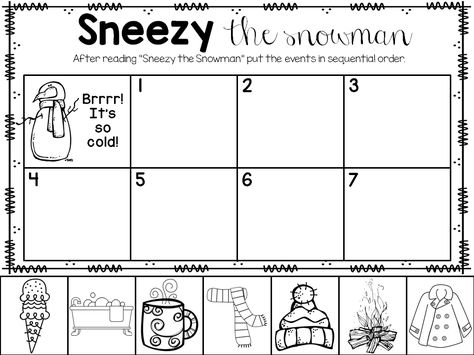 Sneezy the Snowman printable freebie! Language Activities, Reading Activities, Classroom Activities, Winter Activities, Preschool Winter, Classroom Fun, Future Classroom, Sneezy The Snowman, Worksheets