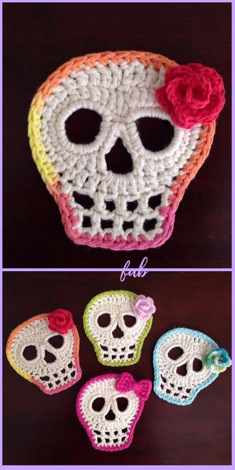 Crochet Day Of The Dead Skull Applique Free Pattern Sie Applique Schädel Day Of The Dead Skull Crochet Free Patterns Appliques Au Crochet, Crochet Skull Patterns, Halloween Crochet Patterns, Thread Crochet, Knit Or Crochet, Crochet Crafts, Yarn Crafts, Crotchet, Knitting Projects