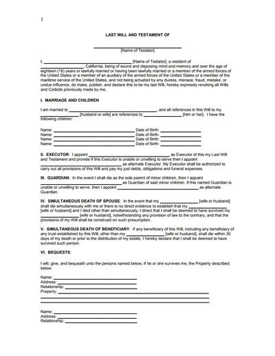 28 Free Wills Forms Downloads In 2020 Last Will And Testament