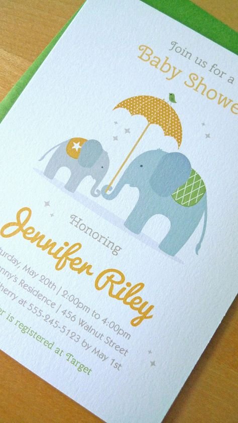Baby Shower Invitation, Elephant Baby Shower Invitaion