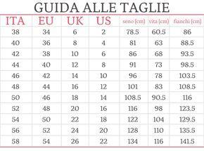 Calendario Giuliano Conversione.Tabella Taglie Conversione Internazionale E Misure